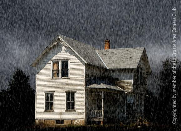 old house in the rain