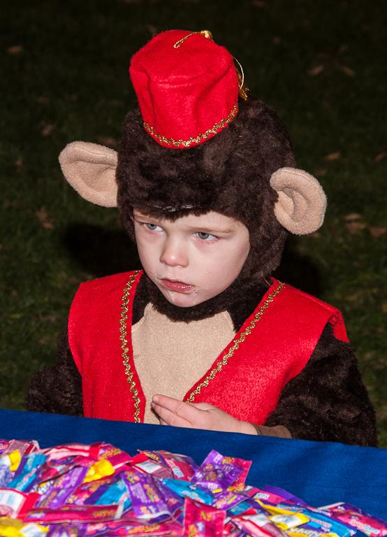 Maker: Paul Schoenfeld  -- 26 points      Judge's comments: More human interest than portrait; lots of mergers with background; could crop from bottomMaker's comments: This little monkey was at the Field of Screams.  That event was lots of fun and a good place for photographing children.