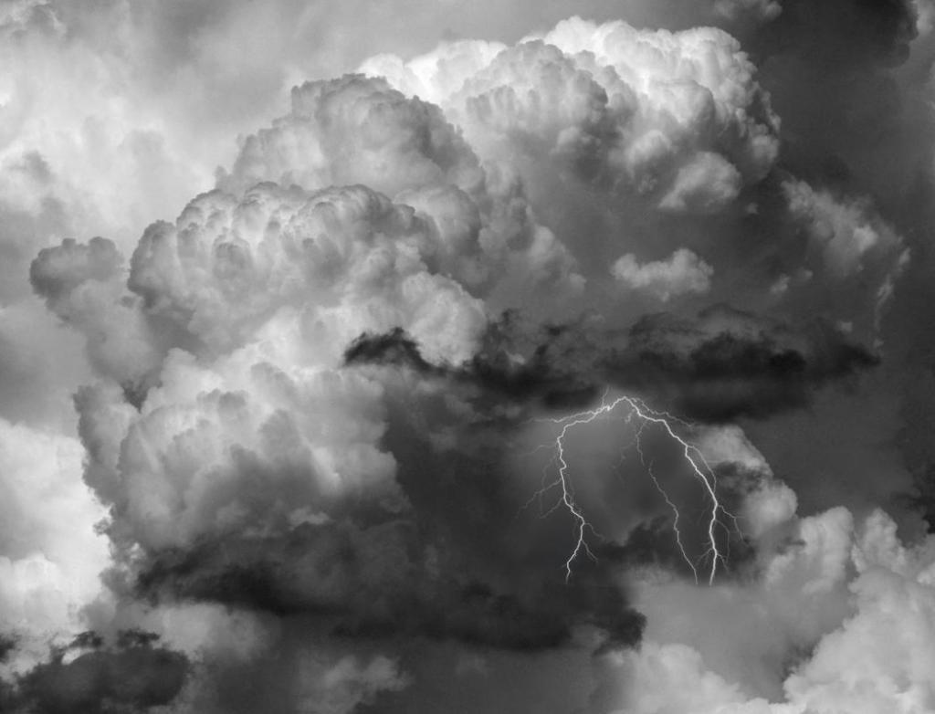 Maker: John Zoerb Entered in: 2016 April Competition - A Prints Score: 40 points  1st PlaceJudge's comments: Great detail in the clouds; great tonal range; lightning is well-placed; interest and excitementMaker's comments: