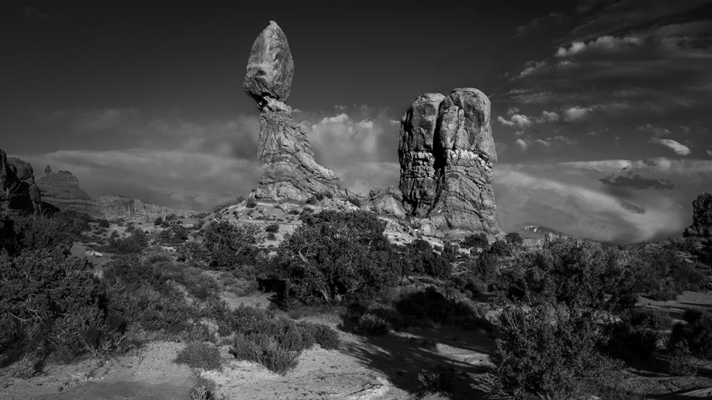 A - Prints Black and white printsMaker: Brian Narveson  -- 34 points  Hon. MentionJudge's comments: Great layered clouds; very sharp; panorama format is great; rocks pop against the skyMaker's comments: Image was shot in Arches National Park about an hour before sunset (long shadows).  Camera was mounted on a tripod and I shot 5 exposures to get several brackets.  Ended up using the unbracketed shot.  Lens set to 18mm, camera set to aperture priority f/16 for depth of field.  Resulting shutter speed was 1/100 second with an ISO of 400.