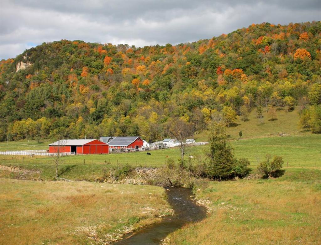 Maker: Eileen Roesler  -- 31 points      Judge's comments: Beautiful scene; the stream leads in to the farm; good sky; nice fall color; could darken the bottom/foregroundMaker's comments: