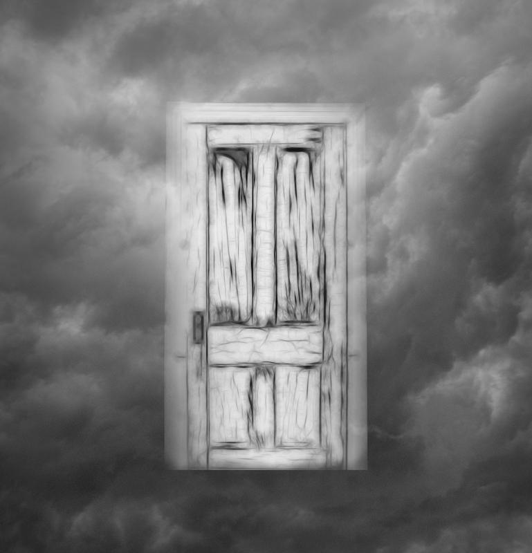 Maker: Sue Retzlaff  -- 26 points      Judge's comments: Nice idea; nice effect on the door; clouds overlapping the door make it not look pasted; seems to lack impact; might need a lead-in like a walkwayMaker's comments: